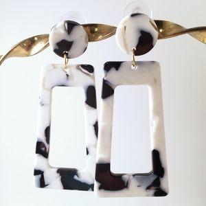 Black and White Dangle Acrylic Earrings Post